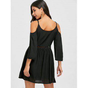Cami Strap Open Shoulder Chiffon Dress - BLACK S