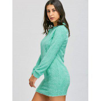 Short Fuzzy Sweater Dress - GREEN XL