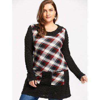 Plus Size Cable Knit Checked Tunic Top - RED 2XL