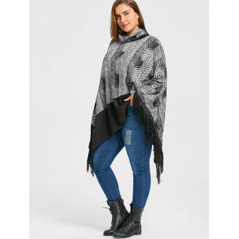 Plus Size Cowl Neck Fringe Poncho Top - BLACK BLACK