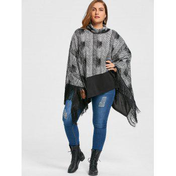Plus Size Cowl Neck Fringe Poncho Top - BLACK 5XL
