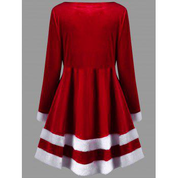 Christmas Plus Size Velvet Long Sleeve Dress - RED 5XL