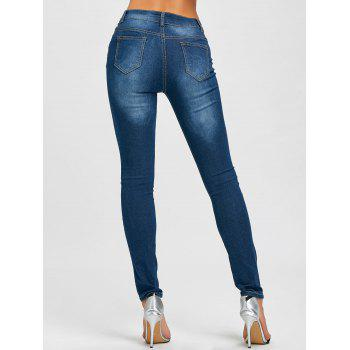 High Waisted Rose Embroidered Ripped Jeans - BLUE S