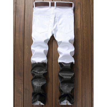 Two Tone Zip Hem Distressed Jeans - WHITE 36