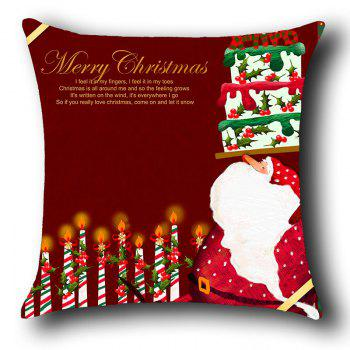 Santa Claus Cake And Candles Pattern Throw Pillow Case - RED W18 INCH * L18 INCH