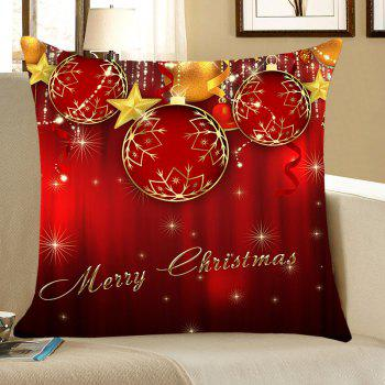 Christmas Baubles and Stars Printed Decorative Pillow Case - RED RED