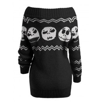 Skull Off The Shoulder Tunic Sweater - BLACK M