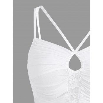 Lace Ruched Sheer Slip Dress - WHITE M