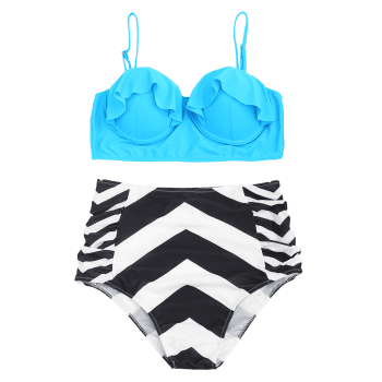Underwire Frilled Zigzag Plus Size Bikini Set - LAKE BLUE 3XL