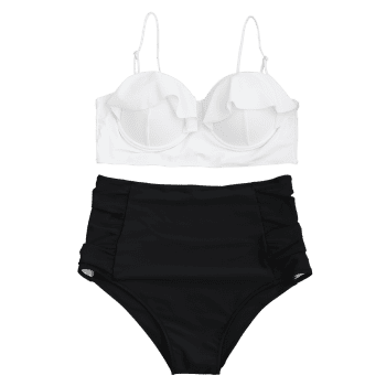 Underwire High Waisted Plus Size Bikini Set - WHITE 2XL
