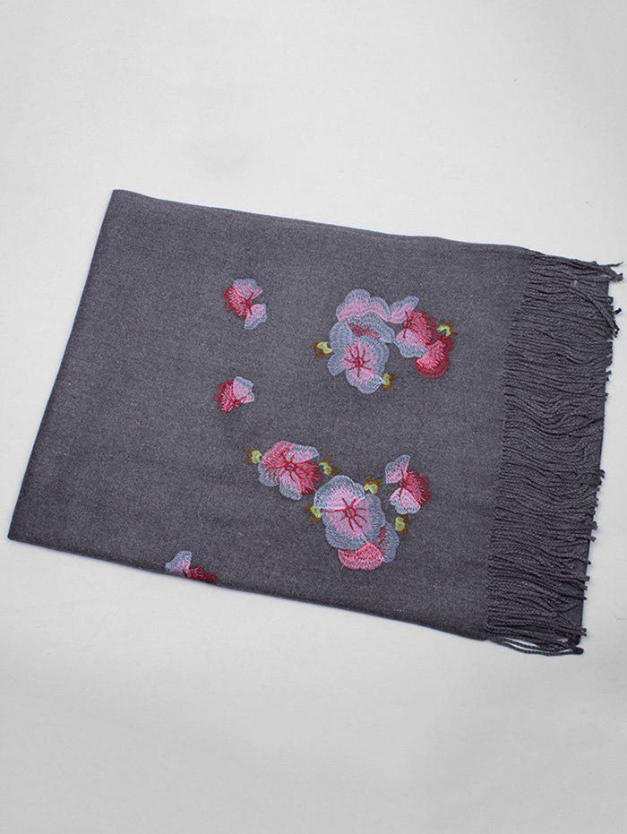 Retro Floral Embroidery Ethinc Style Fringed Scarf - DEEP GRAY