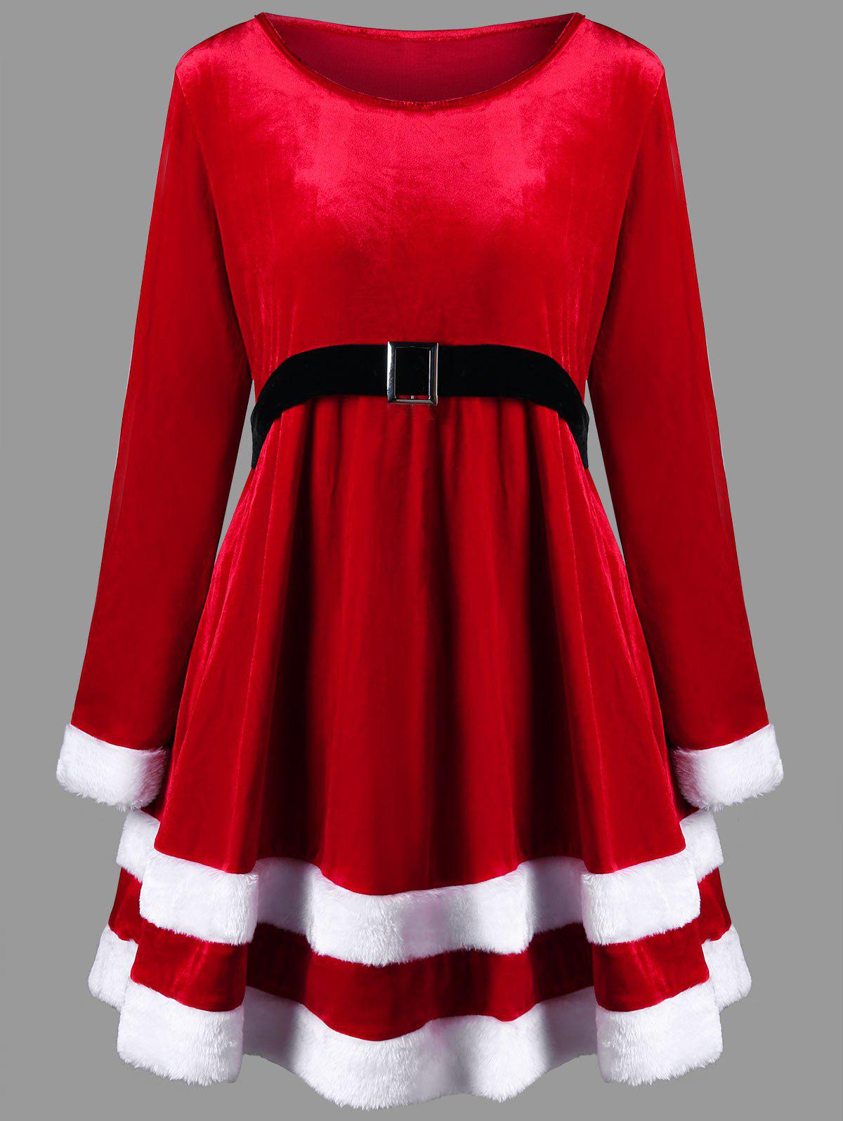 Christmas Plus Size Velvet Long Sleeve Dress christmas cosplay velvet dress