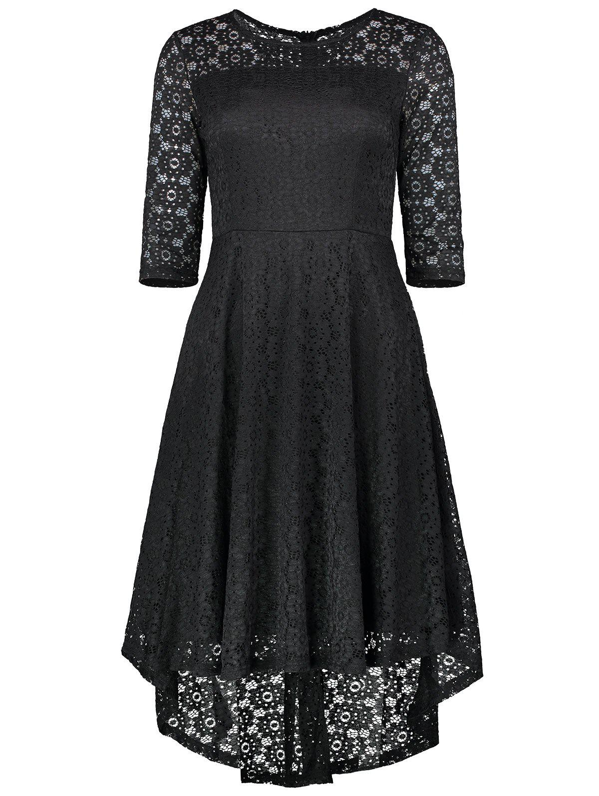 Dentelle Crochet High Low Midi A Line Dress - Noir S