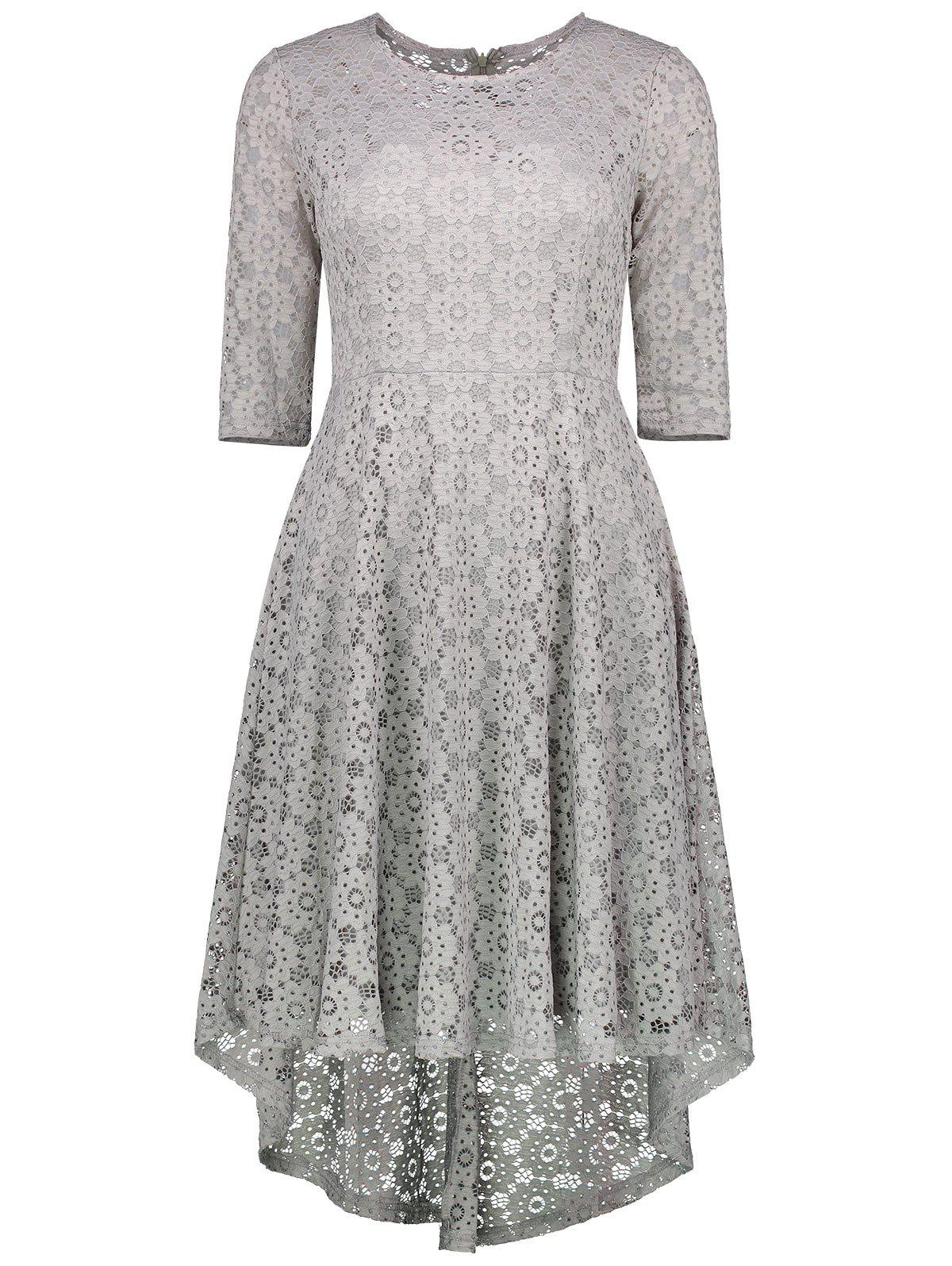 Lace Crochet High Low Midi A Line Dress - GRAY L