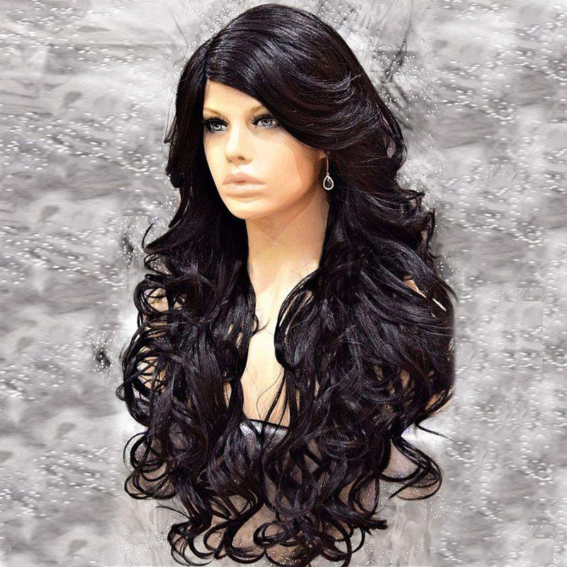 Side Parting Shaggy Long Curly Synthetic Wig long shaggy deep side parting kinky curly synthetic wig
