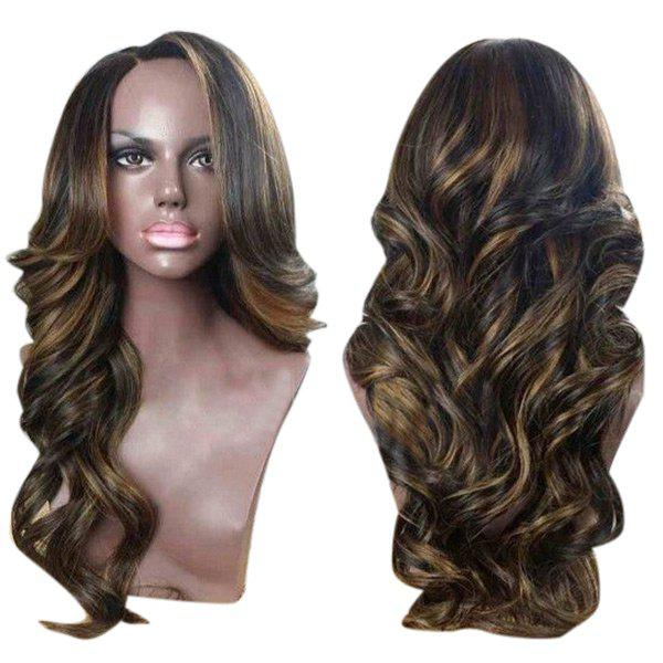 Side Parting Colormix Long Wavy Synthetic Wig long side parting fluffy layered wavy synthetic wig