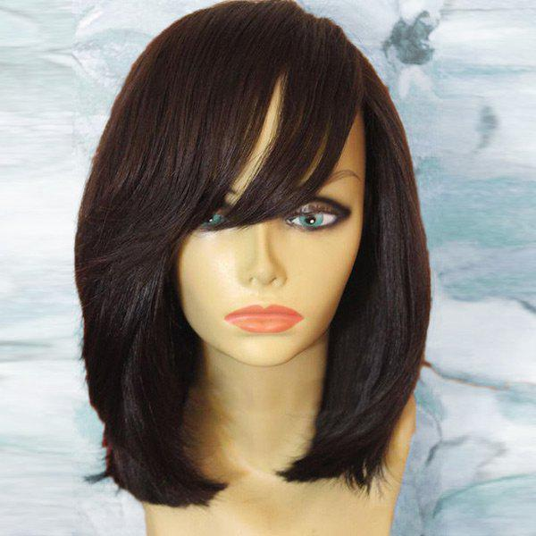 Medium Oblique Bang Natural Straight Bob Synthetic Wig