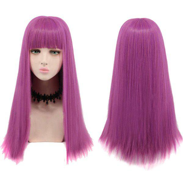 Full Bang Long Striaght Synthetic Descendants 2 Mal Cosplay Wig - ROSE RED