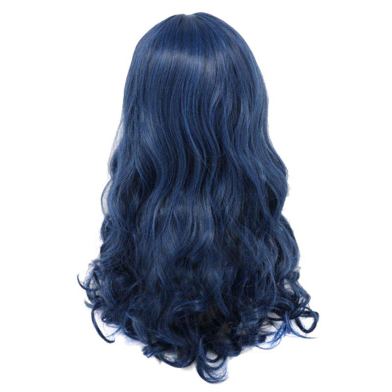Long Curly Synthetic Braided Descendants Evie Cosplay Wig - PEARL INDIGO BLUE