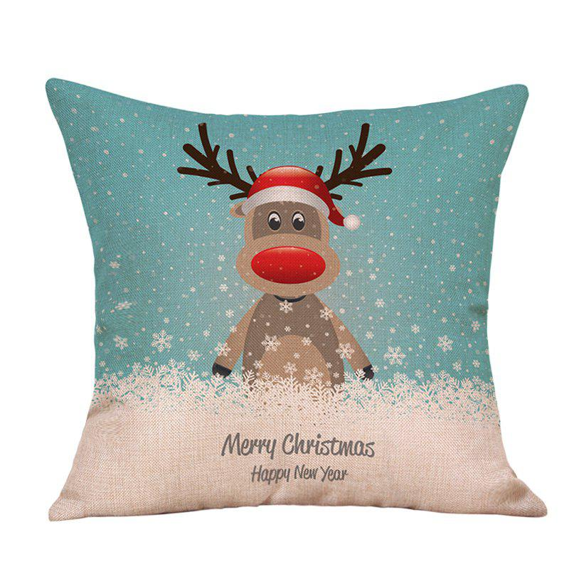 Cartoon Christmas Deer Print Linen Sofa Pillowcase snowy christmas gifts print linen sofa pillowcase