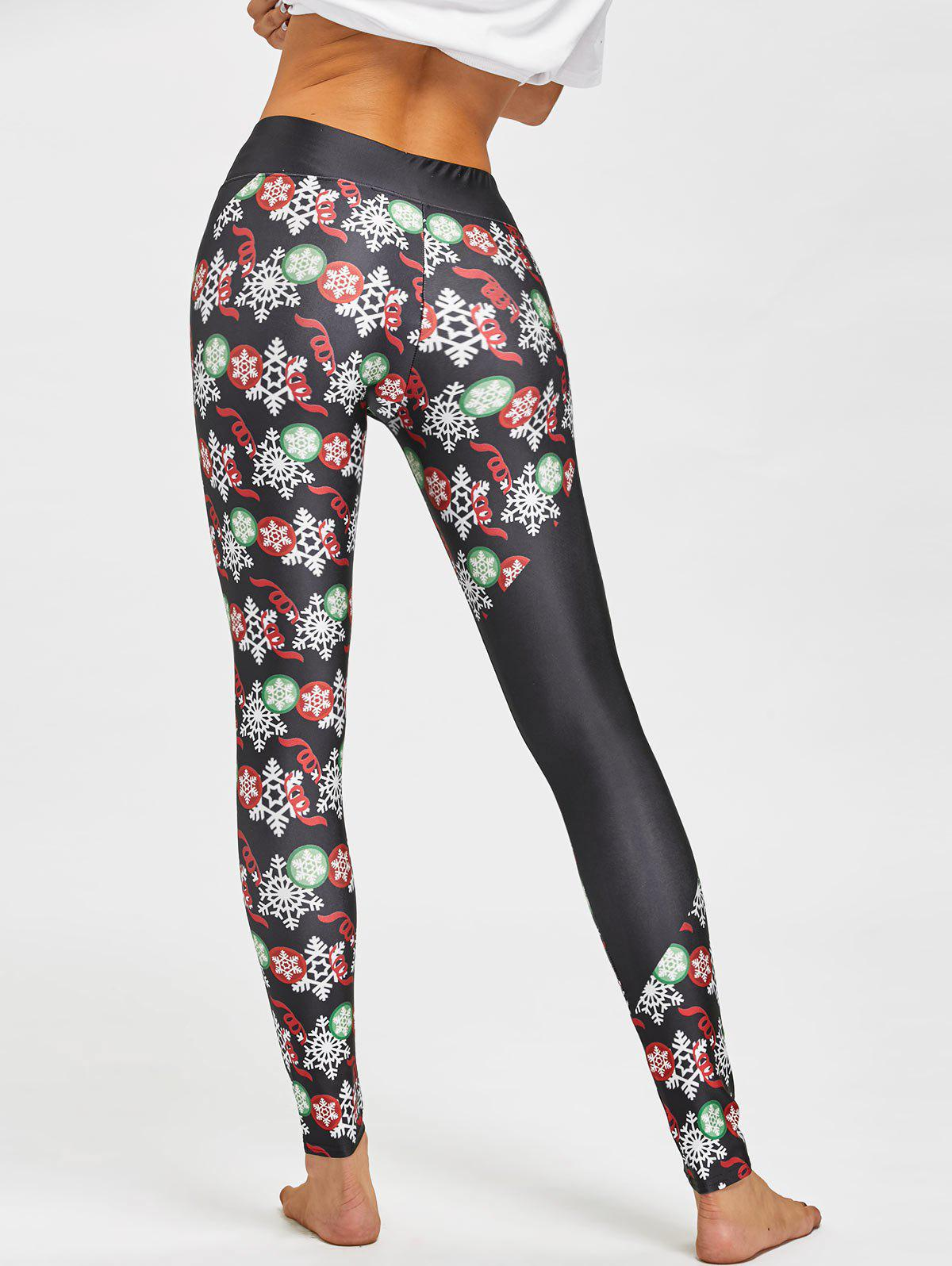 Christmas Snowflake Print Fitted Leggings - BLACK M