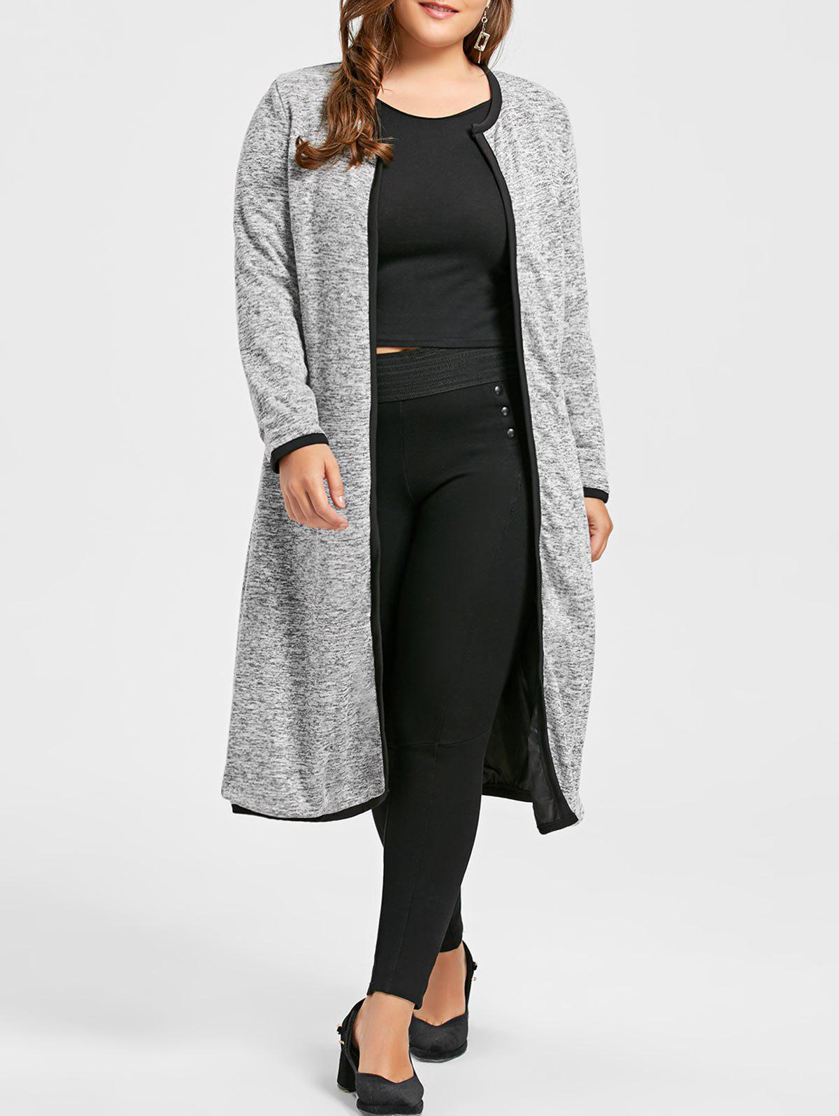Plus Size Marled Longline Collarless Coat, Light gray