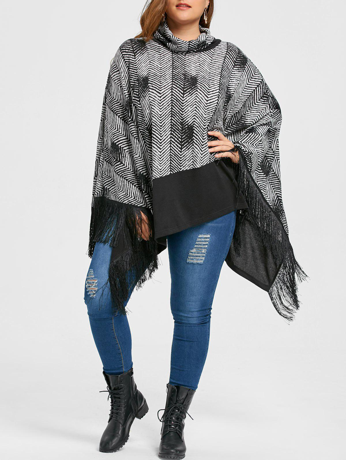 Plus Size Cowl Neck Fringe Poncho Top - BLACK XL
