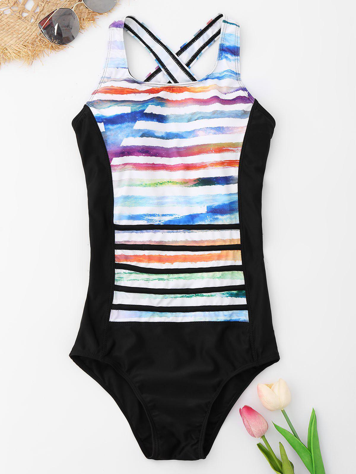 Striped Crossback One Piece Swimsuit - COLORMIX M
