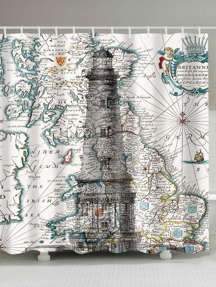 2018 Nautical Map and Lighthouse Printed Waterproof Shower Curtain ...