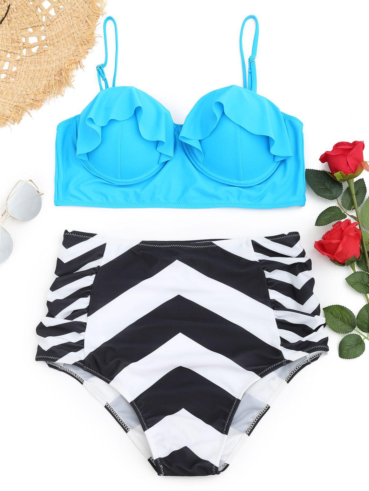 Underwire Frilled Zigzag Plus Size Bikini Set - LAKE BLUE 2XL