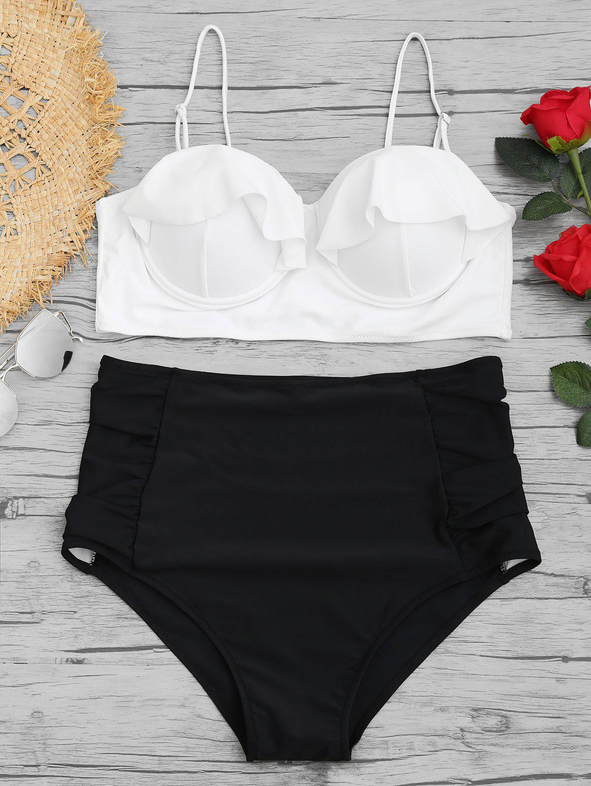 Underwire High Waisted Plus Size Bikini Set - WHITE 3XL