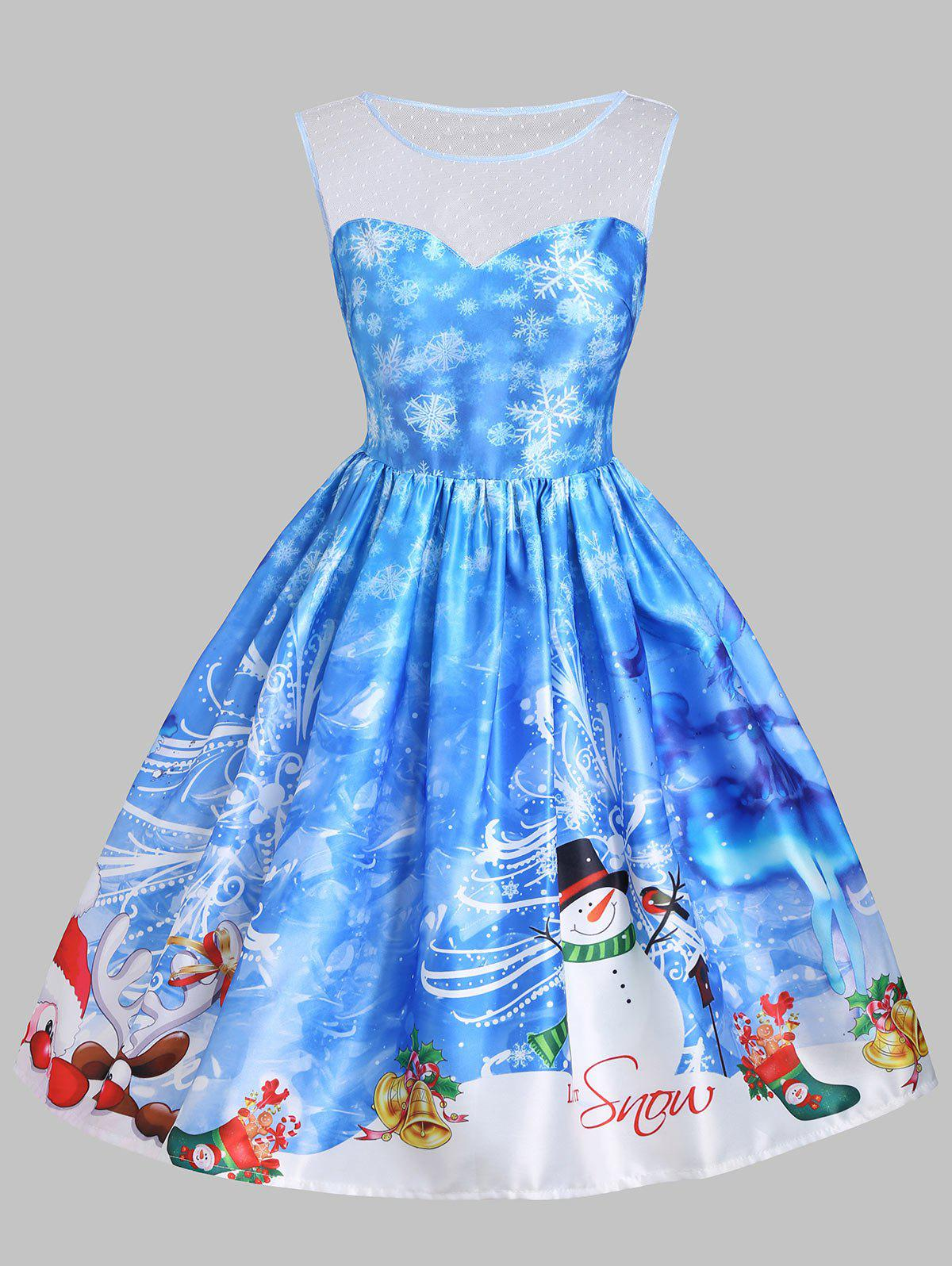 Christmas Snowman Snowflake Mesh Panel Dress - BLUE S
