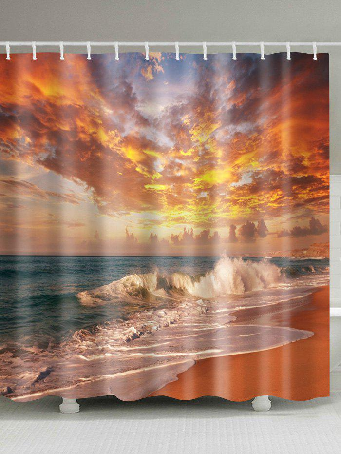 Beach Sunset Scenery Polyester Waterproof Shower Curtain christmas printed polyester waterproof shower curtain