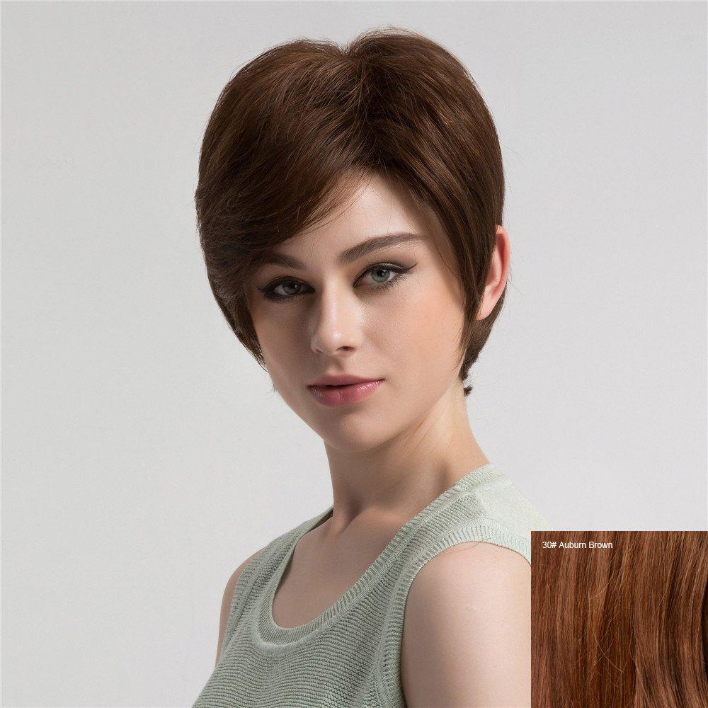 Short Inclined Bang Fluffy Straight Human Hair Wig - AUBURN BROWN