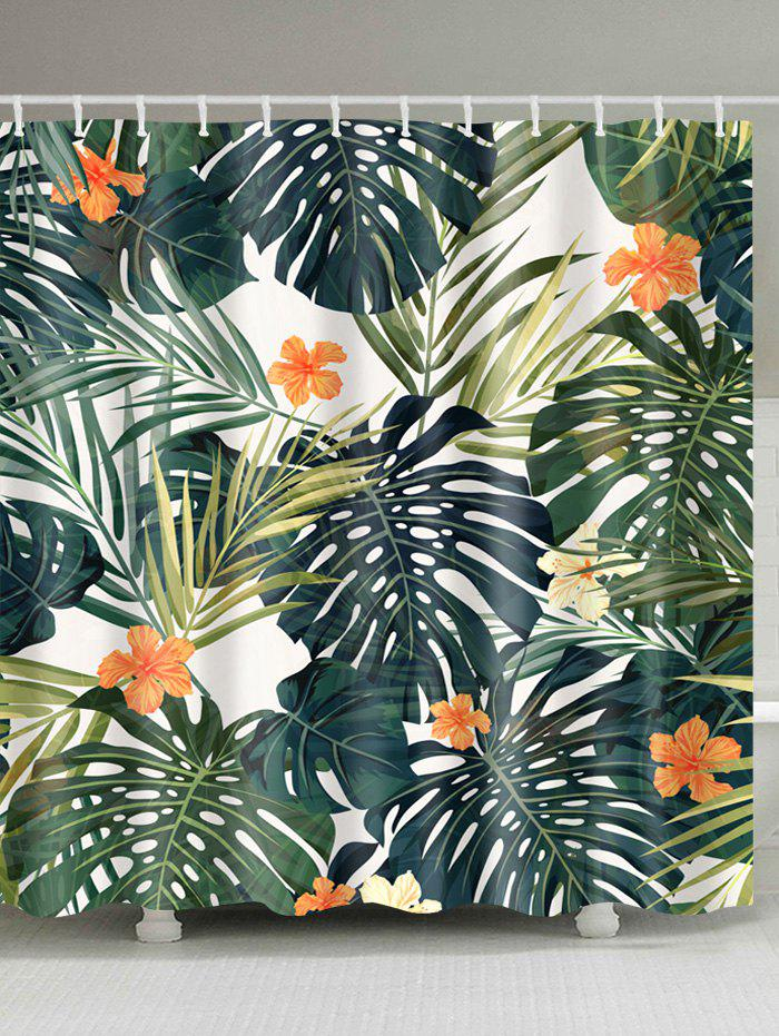 Waterproof Polyester Palm Leaves Print Bath Curtain natural bamboo polyester waterproof shower curtain