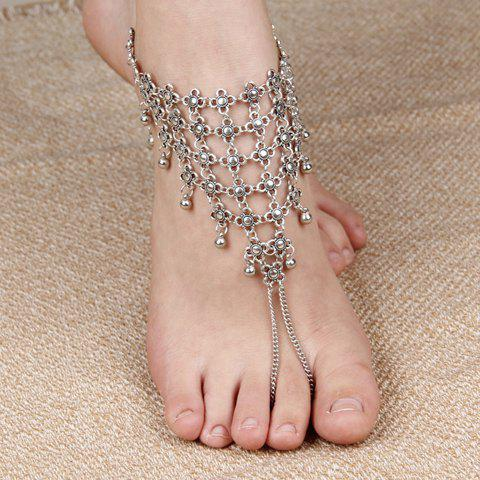 Filigree Hollowed Flower Tassel Anklet - SILVER