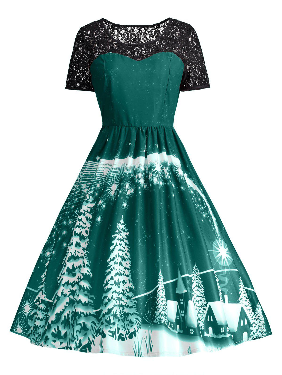 2018 Print Lace Panel Vintage Party Dress GREEN XL In Vintage ...