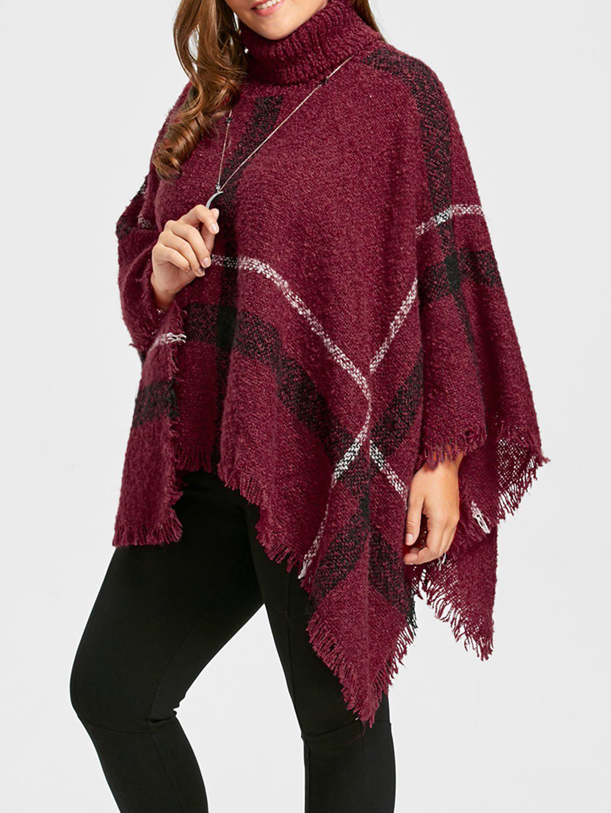 2018 Print Turtleneck Plus Size Cape Sweater RED ONE SIZE In Plus ...