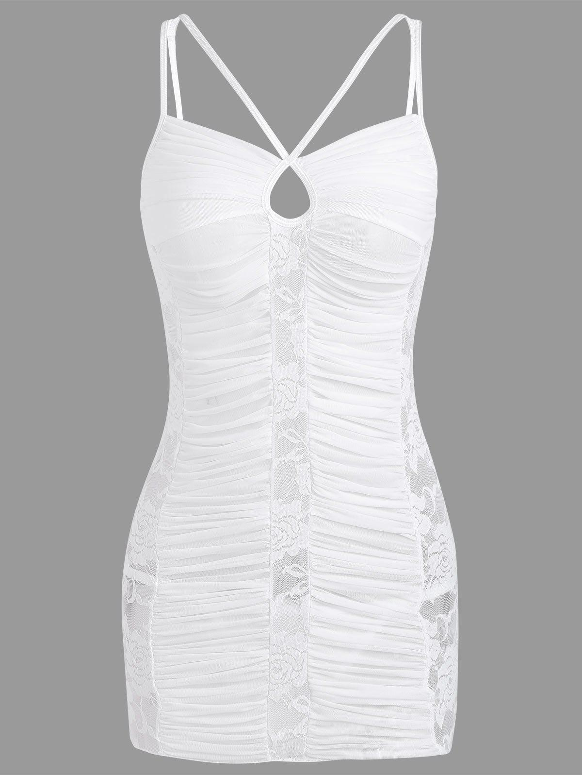 Lace Ruched Sheer Slip Dress - WHITE L