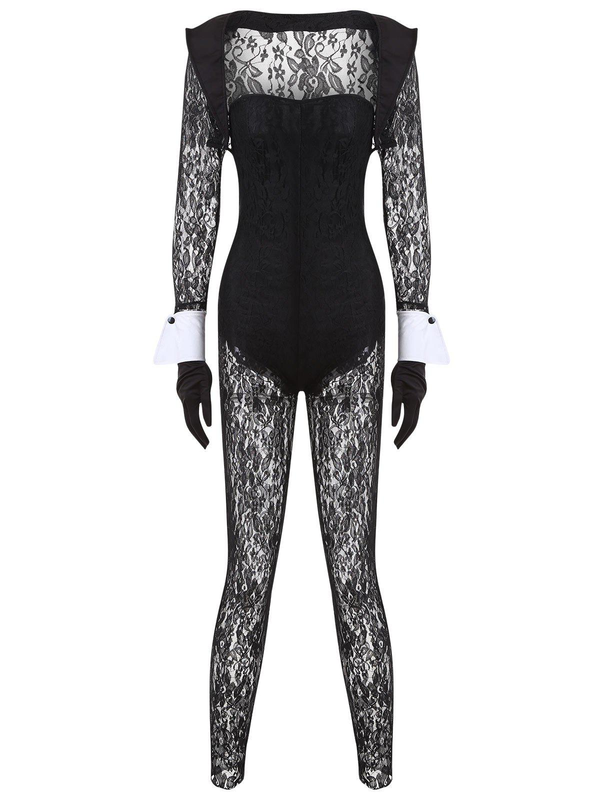 Lace See Through Bunny Costume Set - BLACK ONE SIZE