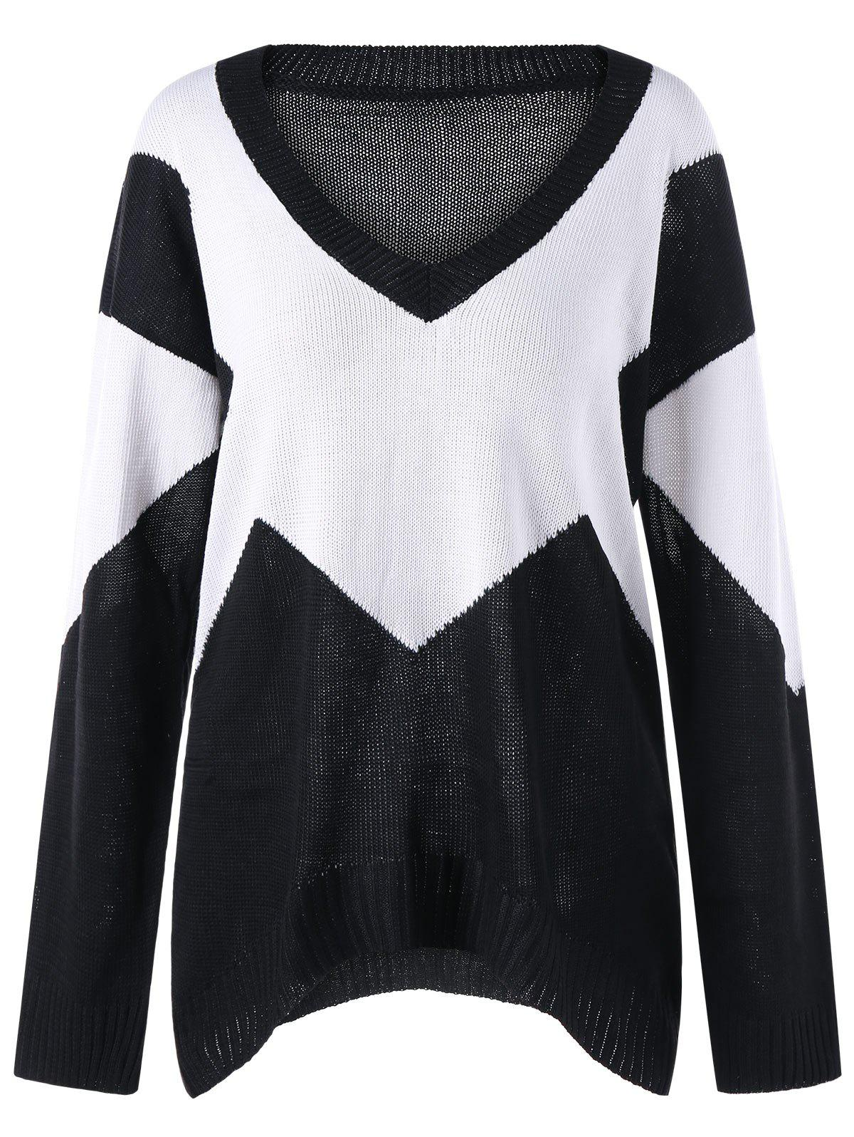 Two Tone Open Knit V Neck Sweater bar iii new black white women s xl marled open knit scoop neck sweater $79 439