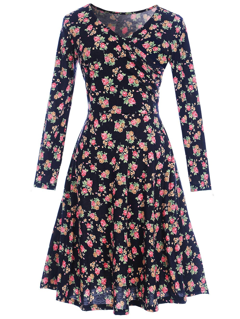 цена на Floral Print Long Sleeve Shift Surplice Dress