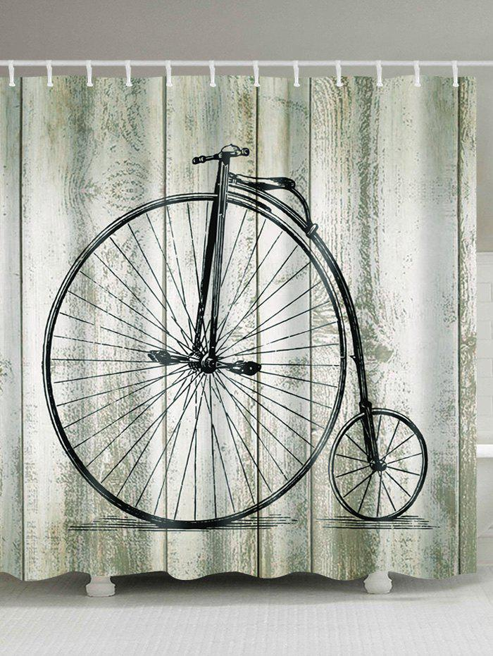 Bicycle Wood Print Polyester Waterproof Shower Curtain vintage wood grain bark waterproof shower curtain