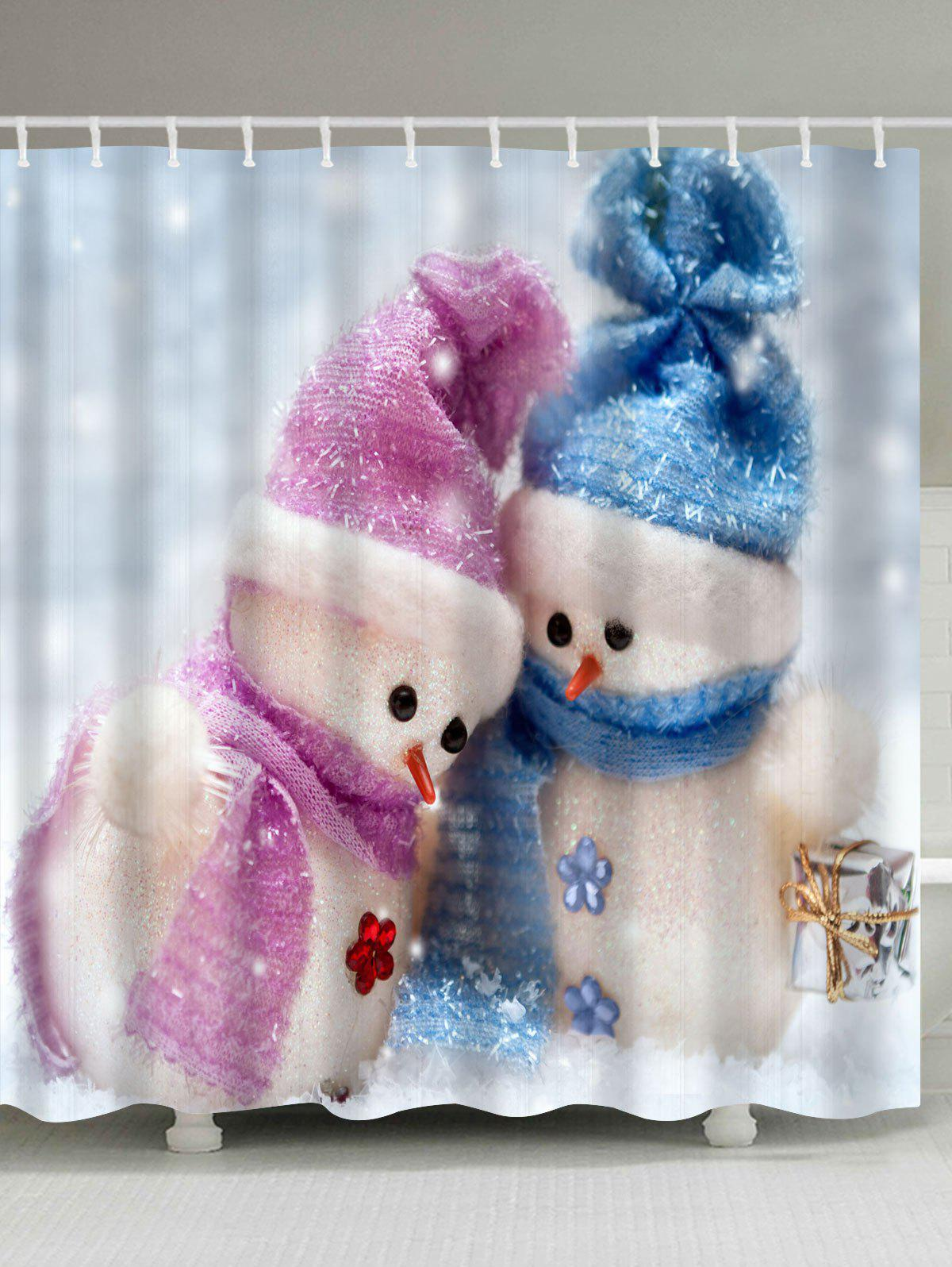 Christmas Snowman Couples Print Waterproof Bath Curtain waterproof polyester snowman christmas shower curtain