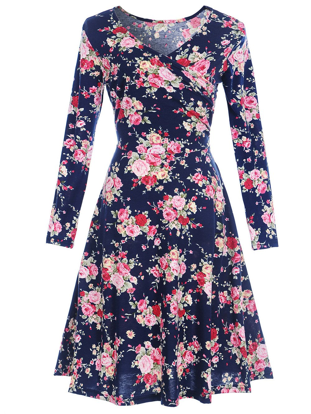 цена на V Neck Long Sleeve Floral Print Dress