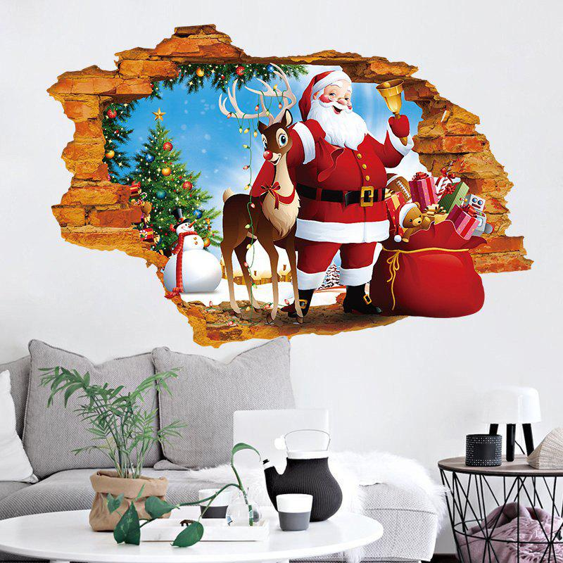 3D Hole Santa Claus Pattern Christmas Wall Art Sticker flower bridge river pattern 3d wall art sticker