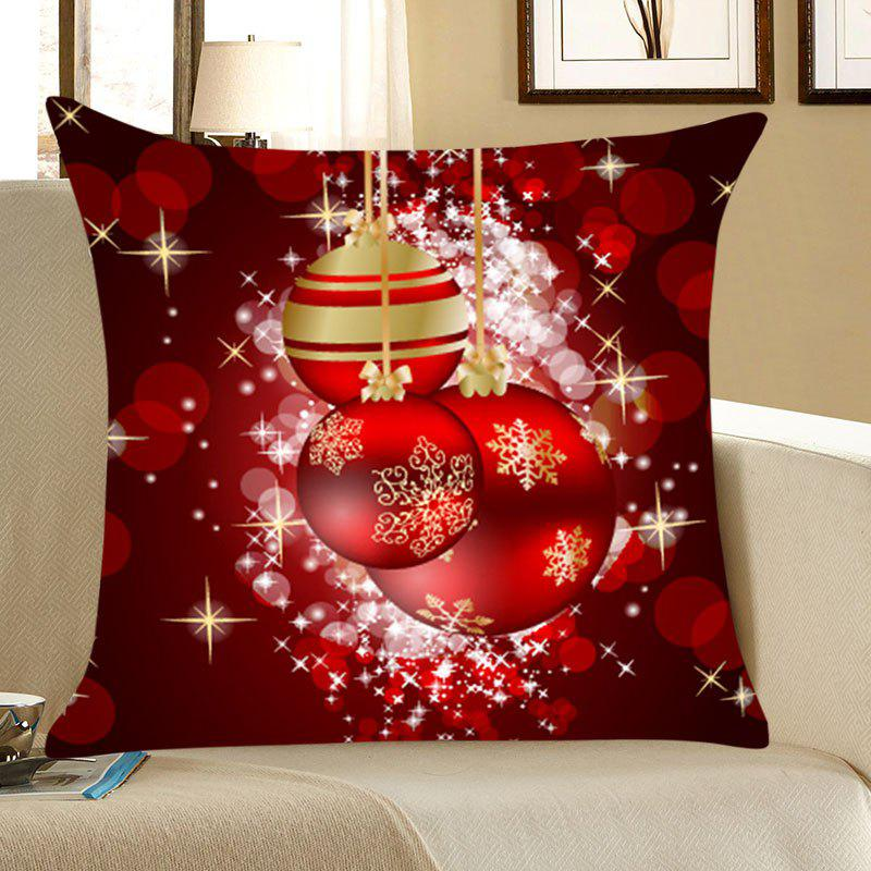 Christmas Snowflakes Balls Print Throw Pillow Case - DEEP RED W18 INCH * L18 INCH