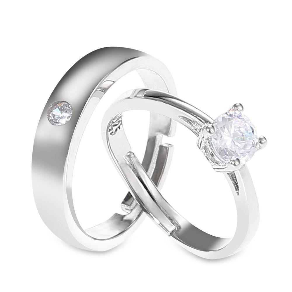 Pair of Rhinestone Ring For Lovers - SILVER ONE-SIZE