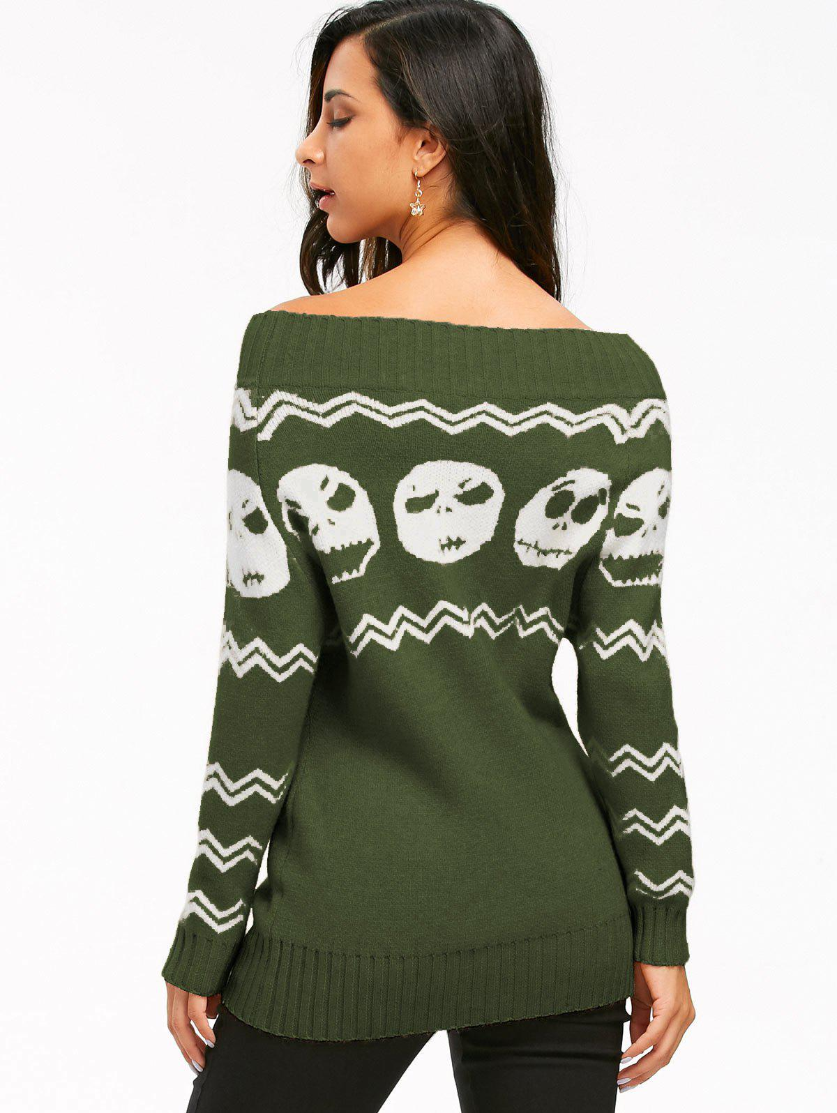 2018 Skull Off The Shoulder Tunic Sweater DEEP GREEN XL In ...