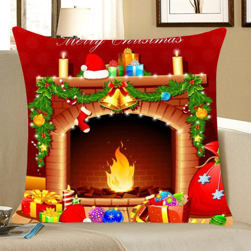 Christmas Fireplace Pattern Linen Pillow Case - COLORFUL W18 INCH * L18 INCH